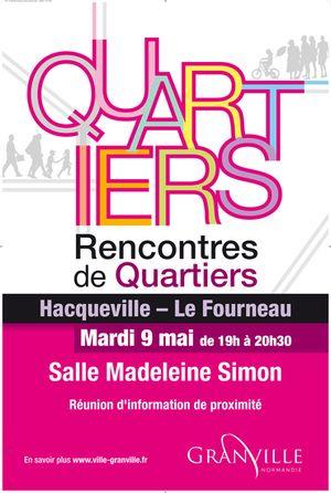 Prochaine Rencontre de quartier. Mardi 9 mai à 19h00 - Hacqueville - Le Fourneau.