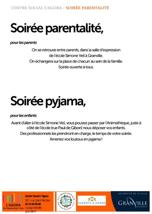 Soirée parentalité et soirée pyjama 8 octobre 2019.
