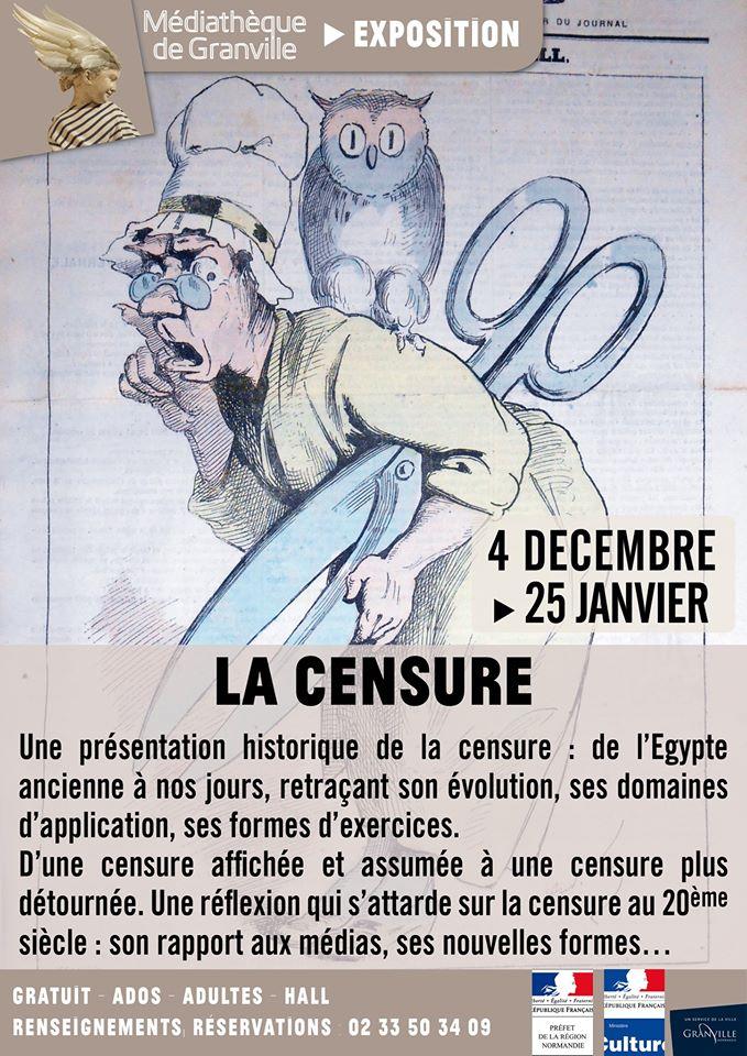 """L'exposition """"La censure"""" est à découvrir du 4 décembre 2019 au 25 janvier 2020 à la médiathèque de Granville."""