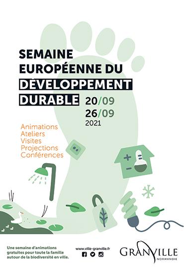 Affiche Semaine européenne du développement durable du 20 au 26 septembre 2021 à Granville.