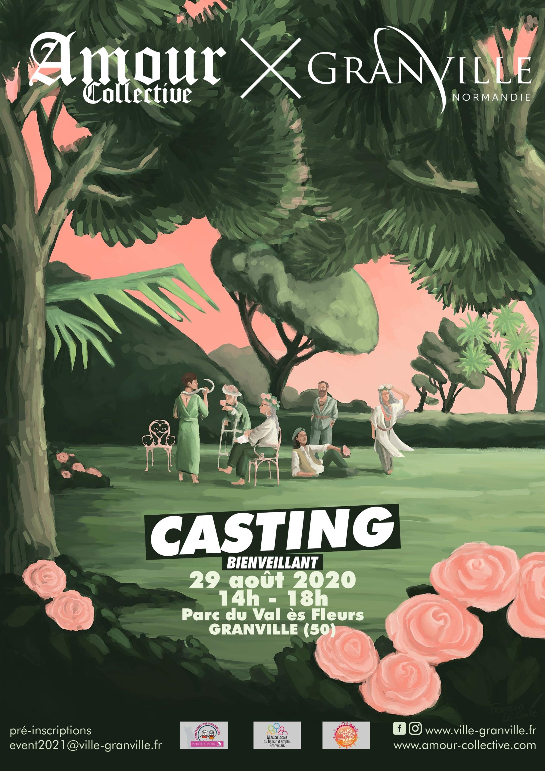 Affiche casting bienveillant Amour Collective x Granville Normandie.