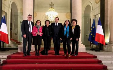 Jean-Marie SEVIN, Maire de Carolles, Anne-Marie COUSIN, Maire de Torigni-sur-Vire, Charlie VARIN, Maire de Percy -en-Normandie, Catherine BRUNAUD-RHYN, Maire de Genêts, Dominique BAUDRY, Maire de Granville.